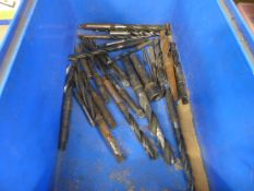 Plastic tray of assorted drill bits