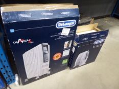 1 large boxed and 1 small boxed Delonghi oil filled radiators