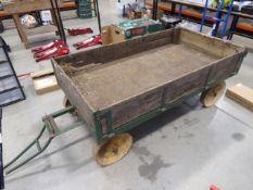 Large 4 wheel vintage tow along metal trolley