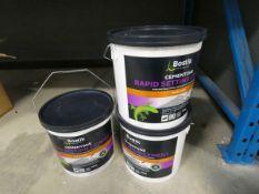 3 buckets of Bostik rapid setting cement