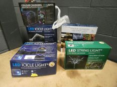 4 boxes of LED string lights and a colour changing strip light