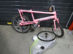 Pink Raleigh chopper with spare wheel, handle bars, no seat