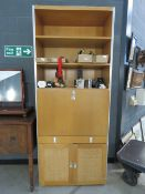 5161 - A late 1970's beech modular storage bookcase cabinet with chromed fittings, in the manner