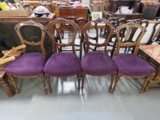 4 Carved Edwardian dining chairs with purple fabric seats