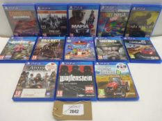 13 various titled PS4 games including Dark Souls III, Far Cry 4, Call of Duty WWII, Assassin's Creed