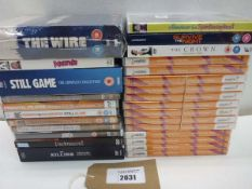 Selection of various titled DVD films and chair based exercise class DVD's