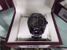 Gents Edison black strapped, black dial moon face watch with box