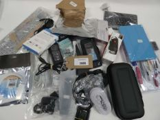 Bag containing miscellaneous accessories/devices; cables, Switch case, mini keyboard, bluetooth