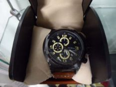 Gents chronograph LA Banas brown leather strapped wrist watch with case