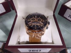 Edison light brown leather strapped rose gold coloured black bezel chronograph watch with box