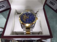 Gents stainless steel strapped blue faced style moon phase watch with box