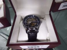 Black leather strapped open movement Edison gents wrist watch in box
