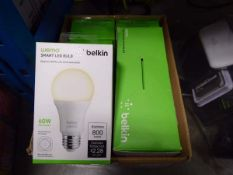 Box containing Belkin smart LED sets