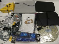 Bag containing Sky boxes, DVD player, LED projector, cables, laptop stand etc