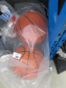 Bag containing 2 basketballs and Mitre football