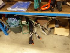 1/2 under bay of assorted garden tools inc. spades, hoes, wheelbarrows, hosepipe, loppers, ladder,