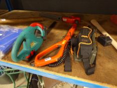 Flymo battery powered strimmer and Bosch battery powered strimmer