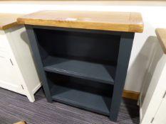 Hampshire Blue Painted Oak Low Bookcase (3)