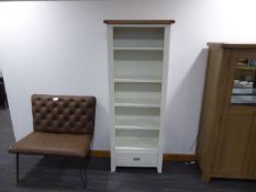 Chester White Painted Oak Tall Narrow Bookcase (76)