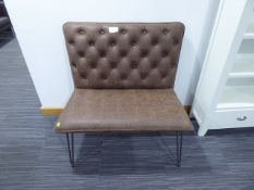 Industrial Brown 90cm Studded Back Bench (106)