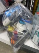 Bag containing various electrical sundries, USB cables, AV cables, mobile phone accessories, etc