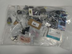 Small bag containing mobile phone accessories; cables, adapters, leads etc