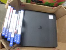 Playstation 4 console, no accessories, includes 6 games