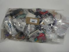 Small bag containing quantity of loose costume and dress jewellery