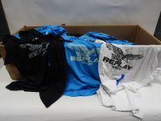 Box containing approx 90 Replay t-shirts in black, light blue and white (various sizes)