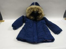 Childs navy winter's coat with faux fur trim to the hood size XL/11-12 year old