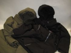 2 DKNY Jeans Parker style coats for ladies, one XL and one medium (one in green and the other in