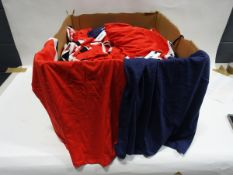 Box containing approx 190 Bench v-neck t-shirts in red with white trim and some dark blue t-shirts
