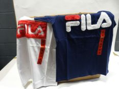 Large box of 165 Fila t-shirts in white and dark blue with Fila furry motive to the front