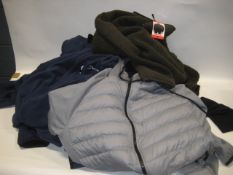 Bag containing 9 various lightweight winter coats by 32 Degree Heat and Berghaus (various sizes
