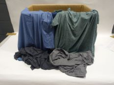 Box containing 45 32 Degree Cool polo shirts in light blue, green, grey and dark blue (various