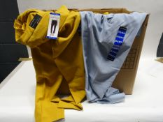 Box containing 45 pairs of Hillary Radley ladies trousers in mustard and light blue (various sizes)