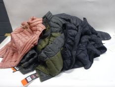 Bag containing 7 ladies and gents quilted lightweight jackets and gilets by 32 Degree Heat and Jerry