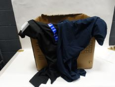 Box containing 45 pairs of Greg Norman Ultimate travel pants in black and blue (various sizes)