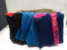 Box containing approx 160 Fila ladies mesh overlay tank tops sizes varying from large to small in