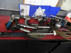 Qty of air tools including nut wrenches, metal nibbler, saw, cutter, tyre inflaters and Sykes