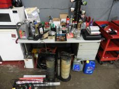 Desk and contents including oils, additives and solvents, liquid evacuator pumps etc