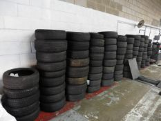84 assorted mainly used tyres some with wheels including space savers