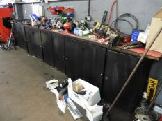 Bank of five 2 door engineers cabinets with worktop, double ended grinder and Woden 88b/3
