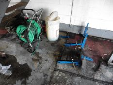 2 hose reels and a part Precision Point wheel aligner