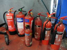 9 assorted fire extinguishers