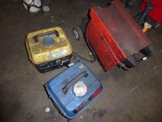 Blackspur petrol engine generator plus one similar and a Sealey Super Mig 150/5 welder