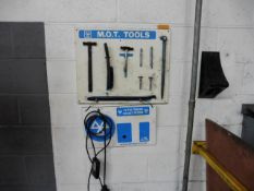 MOT Tools rack with contents and a towing socket tester
