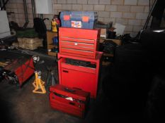 Clark multidrawer tool cabinet with 2 small red cabinets