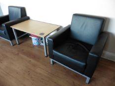 Suite of office furniture to include 2 oak straight front desks, 2 oak radial desks with