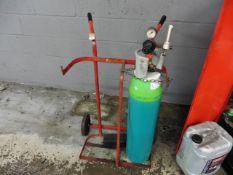 Gas bottle trolley with gauge